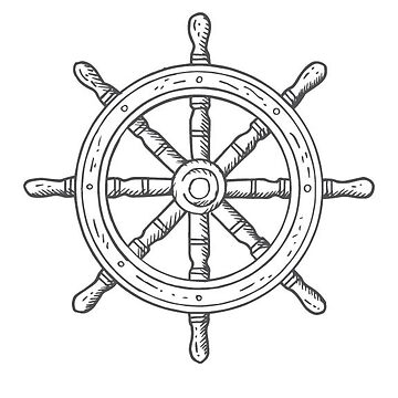 Greyscale Ships Wheel by halfpintjules