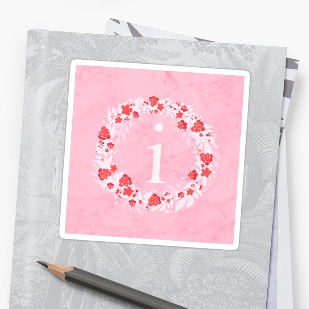 Monogram Letter Sticker Cute Gift Pink Flowers  i by threadsmonkey