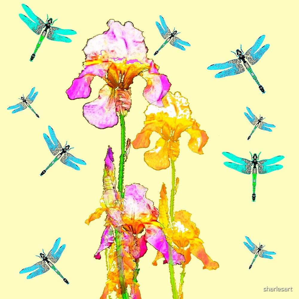 GOLDEN PURPLE IRIS & BLUE DRAGONFLIES by sharlesart