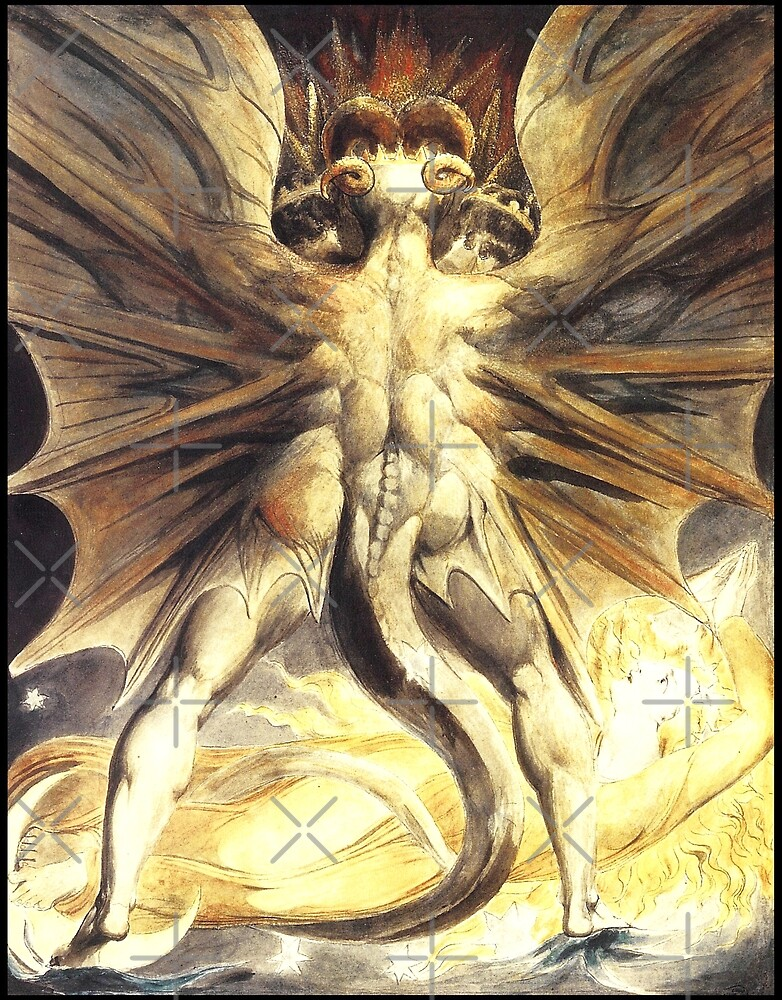 HD The Great Red Dragon (Rev 12)  (serie - number 2 of 4) by William Blake HIGH DEFINITION  (original colors) by mindthecherry