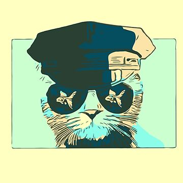 Pop Art Bad Police Cat With Aviator Sunglasses  by House-of-Roc