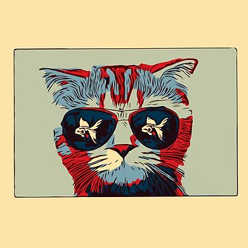 Pop Art Bad Cat With Aviator Sunglasses  by House-of-Roc