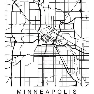 Minneapolis Minimalist City Street Map Dark Design by Andrewkgolf