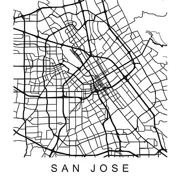 San Jose CA Minimalist City Street Map Dark Design by Andrewkgolf