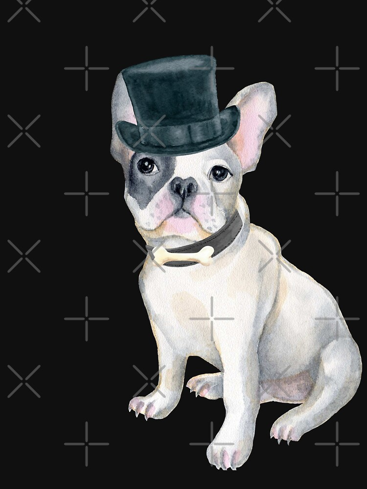 Frenchie French Bulldog Top Hat BONE Dogs In Clothes by Vroomie
