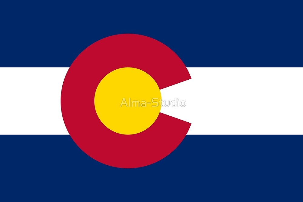 Flag of Colorado, sticker, t-shirt, phone case, poster, tote bag by Alma-Studio