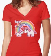 Cute Unicorn Mom Women's Fitted V-Neck T-Shirt