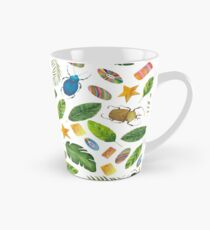 Summer mood. Bugs&Beads collection. Bright watercolor tropic bugs with leaves and beads Tall Mug