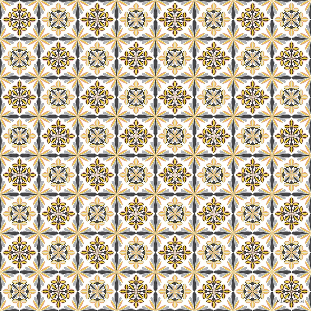 Geometrical seamless pattern with floral ornament. by Alexanna