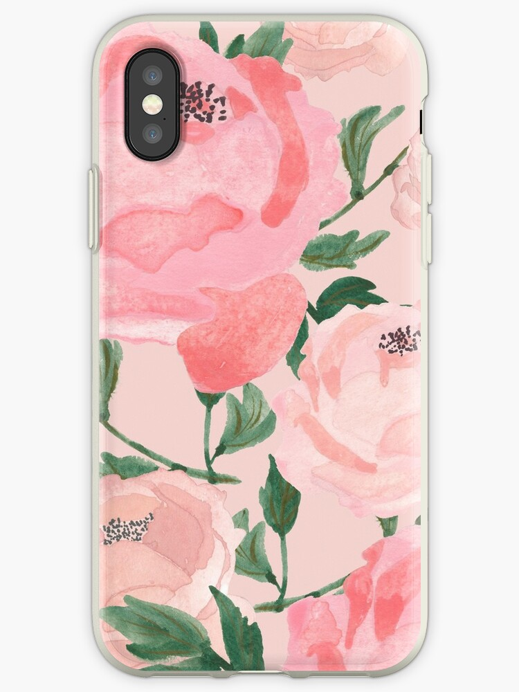 Pink Peonies Watercolor on Blush by MathisDesigns