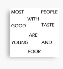 Iskybibblle / Wordz/ yOUNG and poor Canvas Print