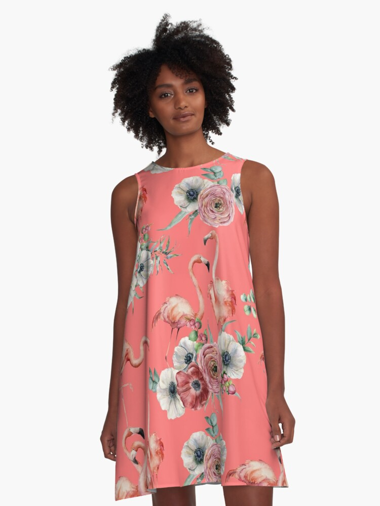 Watercolor Pink Flamingos with Native Flowers A-Line Dress Front