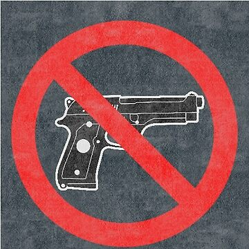 Just Say No to Guns Sticker Pistol Textured Gray by Oldskool0482