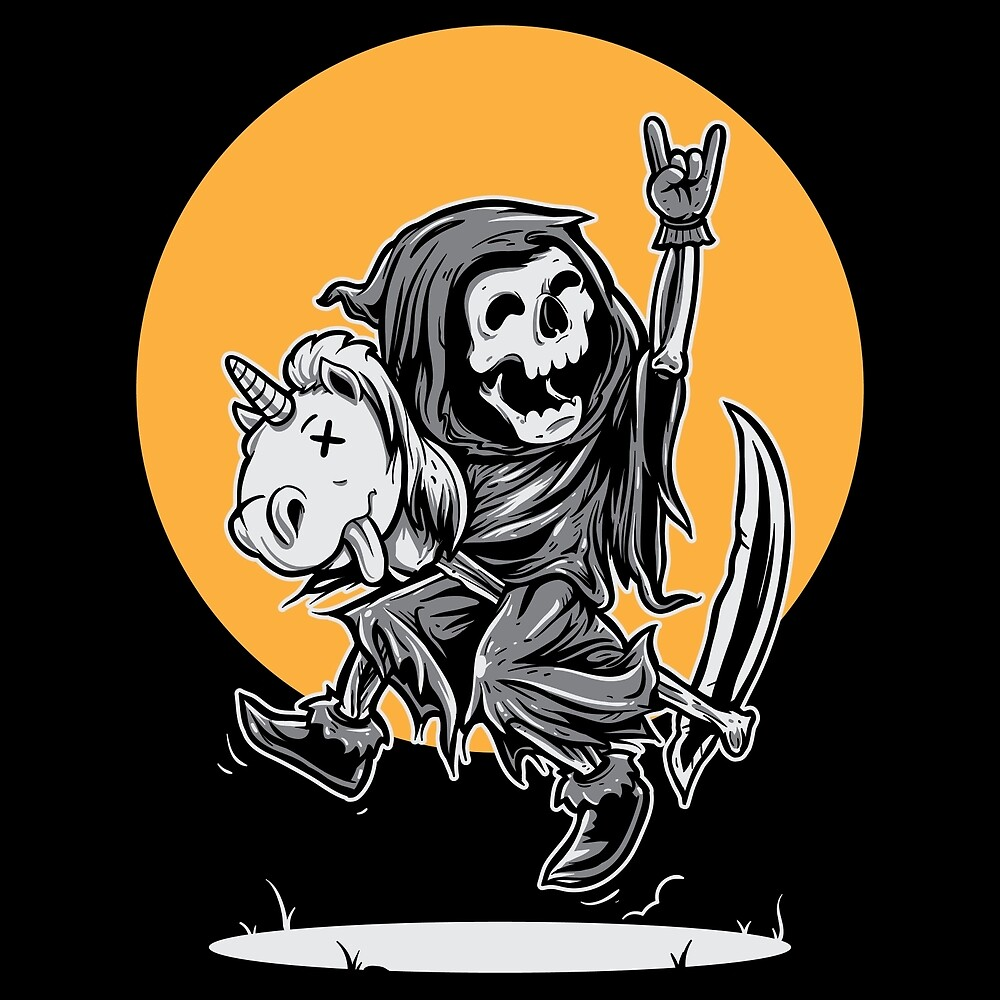 Happy Grim Reaper Riding Unicorn by TomCage