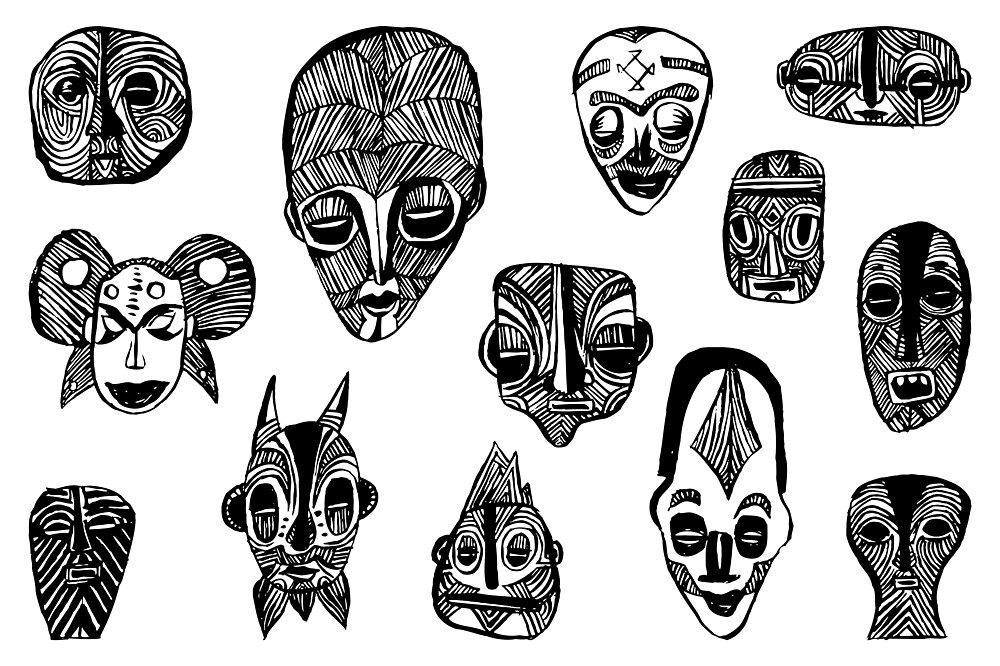 Black And White African Mask Collection by superstarling