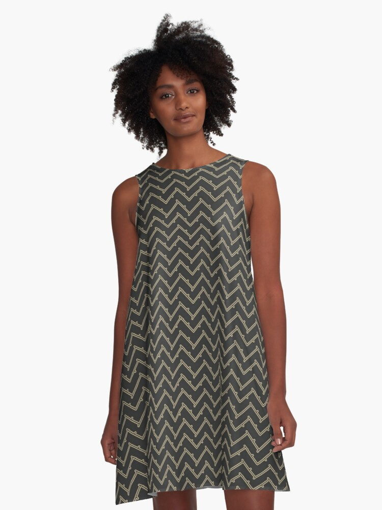 Barbed Chevron | Black and Gold A-Line Dress Front
