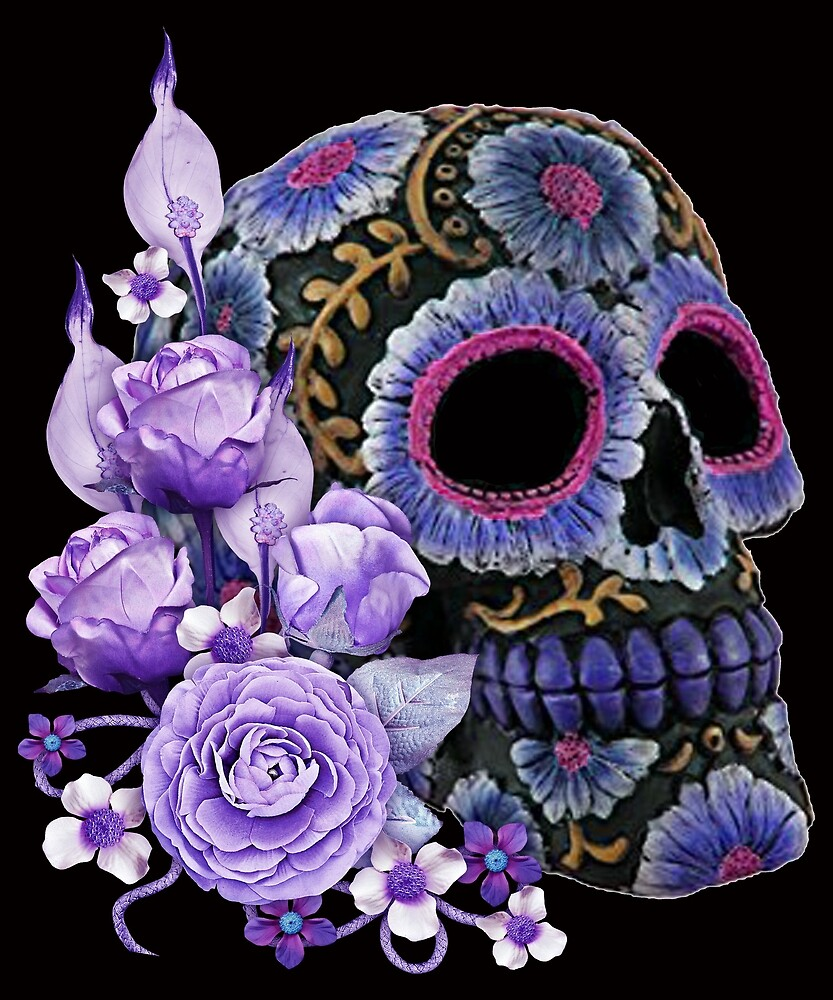 Purple Floral Black Sugar Skull Day Of The Dead by Atteestude