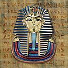 King Tut -Tutankhamun's Gold Death Mask over Egyptian Hieroglyphics Papyrus by Serge Averbukh