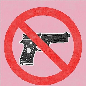 Just Say No to Guns Sticker Pistol Textured Pink by Oldskool0482