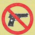 Just Say No to Guns Sticker Pistol Textured Yellow by Oldskool0482