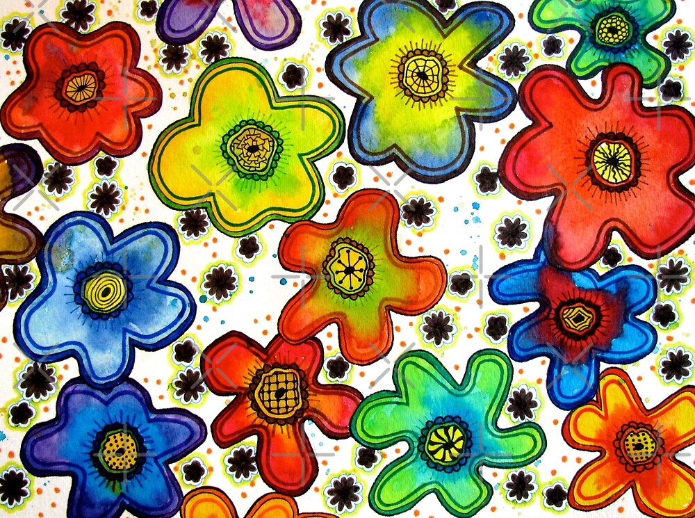 Funky Flower Doodles by collageDP