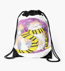 Loyal Witch Cat in Black and Yellow Scarf Drawstring Bag
