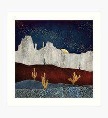 Lámina artística Desierto con luz de luna