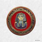 King Tut -Tutankhamun's Gold Death Mask over White Leather by Serge Averbukh