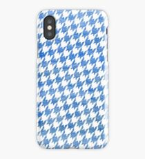 Blue and White houndstooth pattern iPhone Case