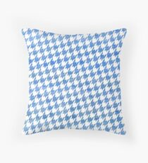 Blue and White houndstooth pattern Throw Pillow