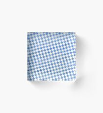 Blue and White houndstooth pattern Acrylic Block