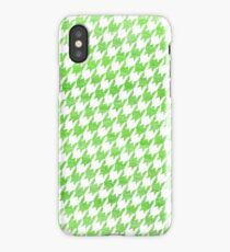 Green and White houndstooth pattern iPhone Case