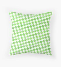 Green and White houndstooth pattern Throw Pillow