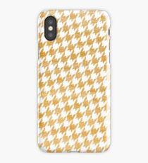 Orange and White houndstooth pattern iPhone Case