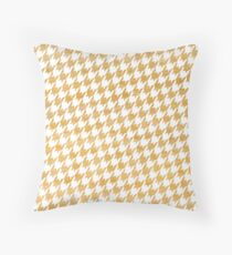 Orange and White houndstooth pattern Throw Pillow