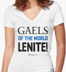Gaels of the world, lenite! Women's Fitted V-Neck T-Shirt
