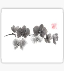 Curious orchid sumi-e painting  Sticker