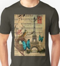 vintage bird nest paris eiffel tower botanical art T-Shirt