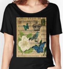 vintage Bird butterfly rose music notes Paris Women's Relaxed Fit T-Shirt