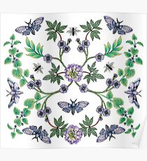 Lavender, Purple & Mint Green Flowers, Moths & Insects Pattern Poster