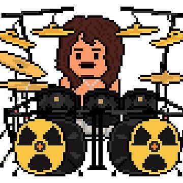 Rock Battle Shirtless Pixel Radioactive Drummer by gkillerb