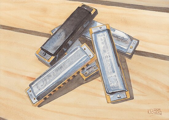 Harmonica Pile by Ken Powers