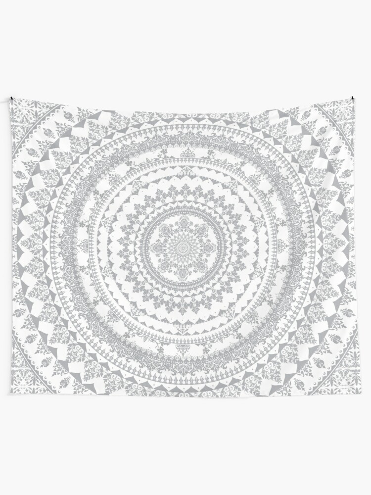 Alternate view of Mandala Gray Wall Tapestry