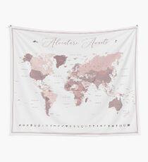 Pink World Map - Abenteuer erwartet Wandbehang