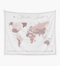 Pink World Map - Adventure Awaits Wall Tapestry