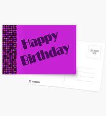 purple Happy Birthday Postcards