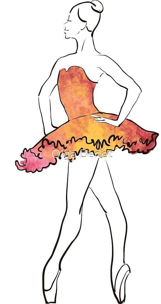 Ballerina-Figur, Aquarellillustration von OlgaBerlet