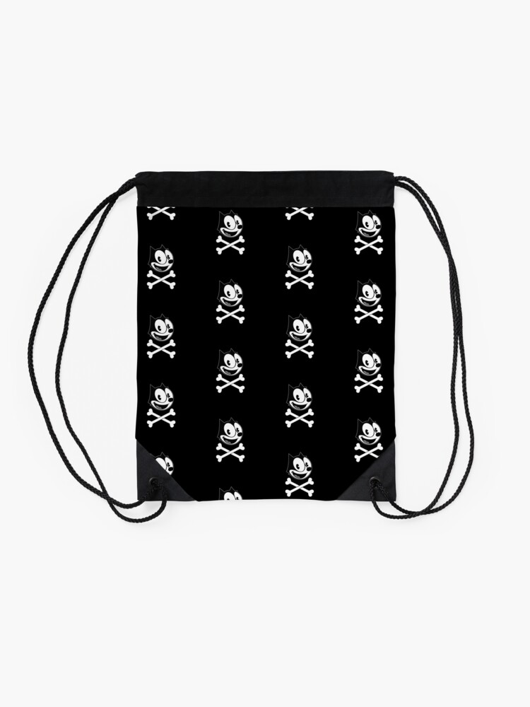 Alternate view of Felix the cat skull Drawstring Bag