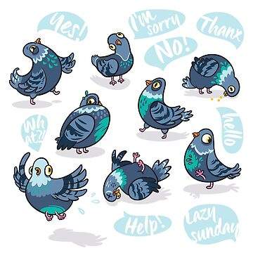 Funny cute pigeons by PenguinHouse