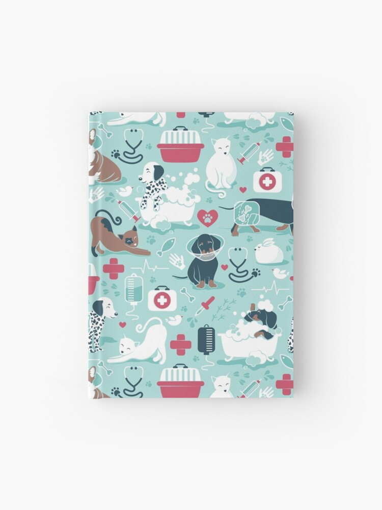 Veterinary medicine, happy and healthy friends // aqua background red  details navy blue white and brown cats dogs and other animals | Hardcover